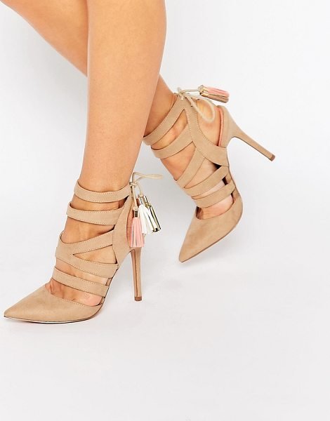 Miss Kg Alana Ghillie Heeled Shoes in tan - Heels by Miss KG, Faux-suede upper, Caged strap design,...