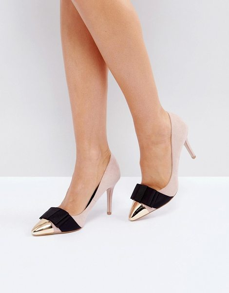 "Miss Kg Alyssa Bow Pumps in beige - """"Heels by Miss KG, Faux-suede upper, Metallic toe cap,..."