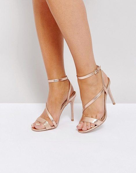 Miss Kg Asymmetric Heel Sandals in copper - Shoes by Miss KG, Metallic upper, Ankle-strap fastening,...