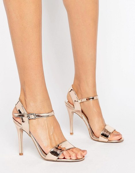 "MISS KG Barely There Heeled Sandal in gold - """"Shoes by Miss KG, Faux-leather upper, Pin-buckle..."