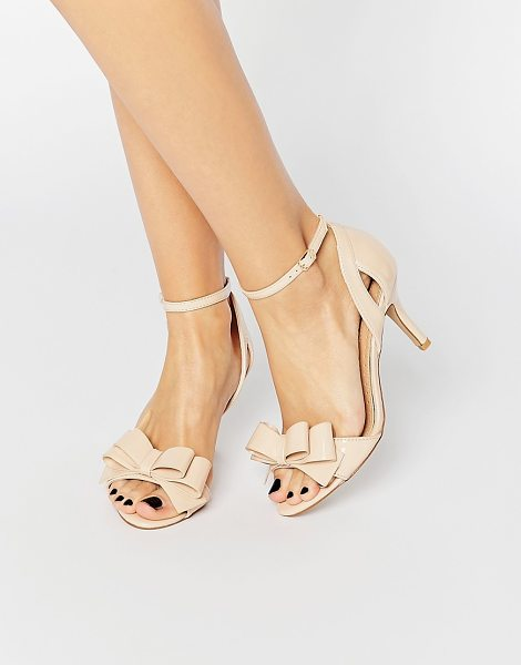 Miss Kg Caiden Bow Heeled Sandals in beige - Shoes by Miss KG, Faux-suede upper, Open toe, Bow...