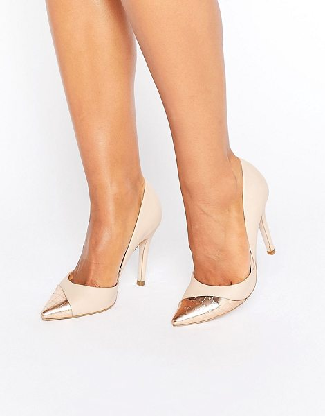 Miss Kg Caitlyn Contrast Pumps in beige - Shoes by Miss KG, Faux-leather upper, Slip-on style,...