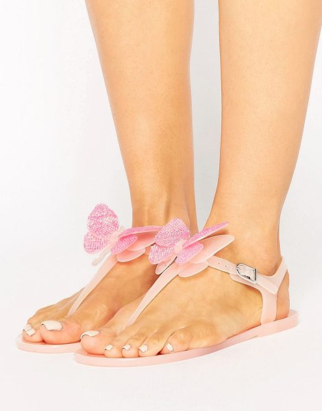 Miss Kg Dina Butterfly Toepost Jelly Flat Sandals in nude - Sandals by Miss KG, Jelly upper, Pin-buckle fastening,...