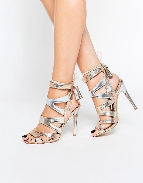 Miss Kg Frenchy Metal Gold Metallic Caged Heeled Sandals in gold - Sandals by Miss KG, Faux-leather upper, Metallic finish,...