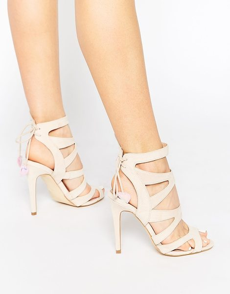 Miss Kg Frenchy Strappy Heeled Sandals With Heart Tie in beige - Sandals by Miss KG, Suede-look upper, Cut-out strap...