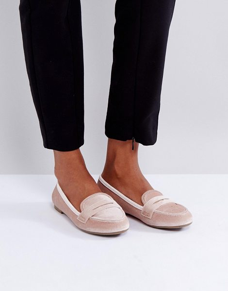 Miss Kg loafer in nude - Shoes by Miss KG, Velvet upper, Slip-on style, Round...