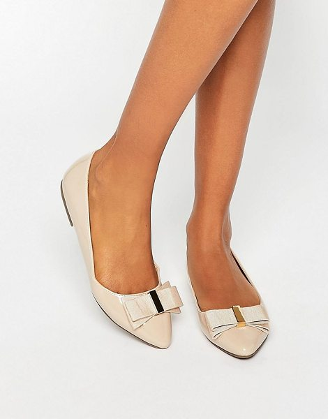 Miss Kg Nessy Bow Point Flat Shoes in beige - Flat shoes by Miss KG, Patent upper, Slip-on style, Bow...