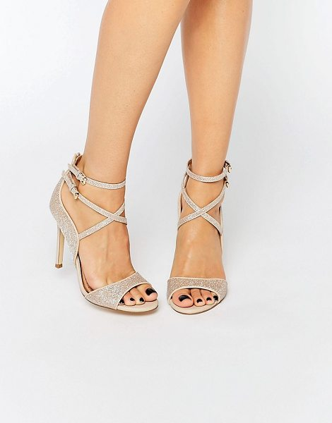 "MISS KG Steffan Strappy Heeled Sandals in gold - """"Shoes by Miss KG, Gold-tone glitter-finish upper, Pin..."