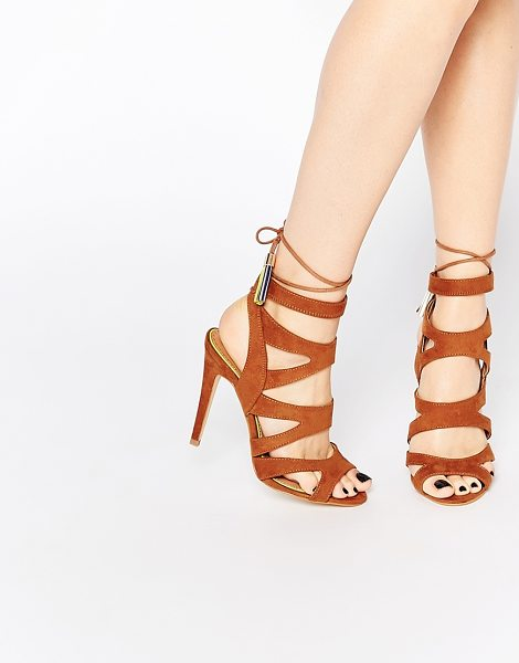 "Miss Kg Tan Frenchy Heeled Sandals in tan - """"Heels by Miss KG, Leather-look upper, Lace-up closure,..."