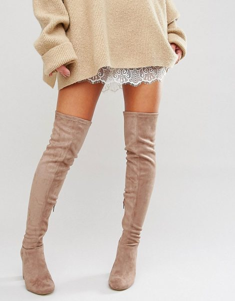 Miss Kg Vegas Heeled Over The Knee Boots in beige - Boots by Miss KG, Faux-suede upper, Over-the-knee...