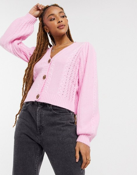 Miss Selfridge cable cardigan in pink in pink