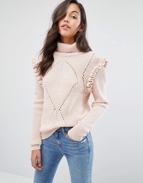 Miss Selfridge Chunky Frill Detail Sweater in cream - Sweater by Miss Selfridge, Midweight chunky knit,...
