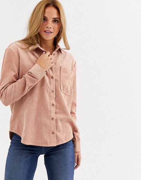 Miss Selfridge cord shirt in light pink in pink