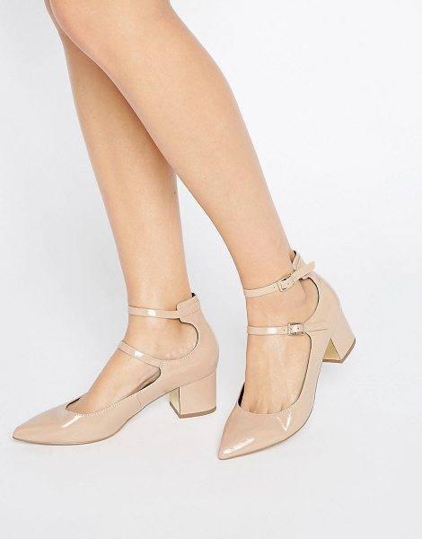 Miss Selfridge Double Strap Pointed Heeled Shoes in beige - Shoes by Miss Selfridge, Patent faux-leather upper,...
