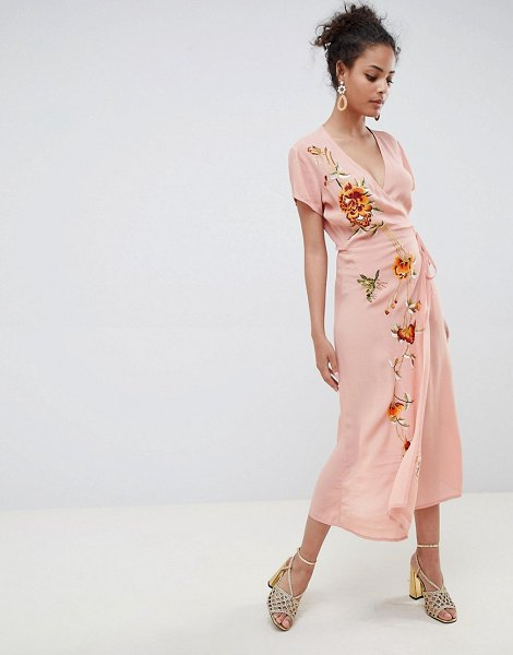 Miss Selfridge maxi dress with embroidery and cap sleeve in pink - Maxi dress by Miss Selfridge, Cute, right? Plunge neck,...