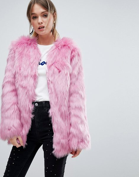 Miss Selfridge faux fur coat in pink