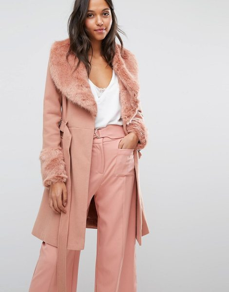 Miss Selfridge Faux Fur Cuff Fit & Flare Coat in pink - Coat by Miss Selfridge, Textured woven fabric, Faux-fur...