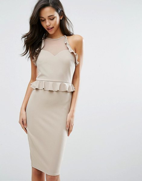 "Miss Selfridge Frill Pencil Dress in beige - """"Pencil dress by Miss Selfridge, Smooth stretch fabric,..."