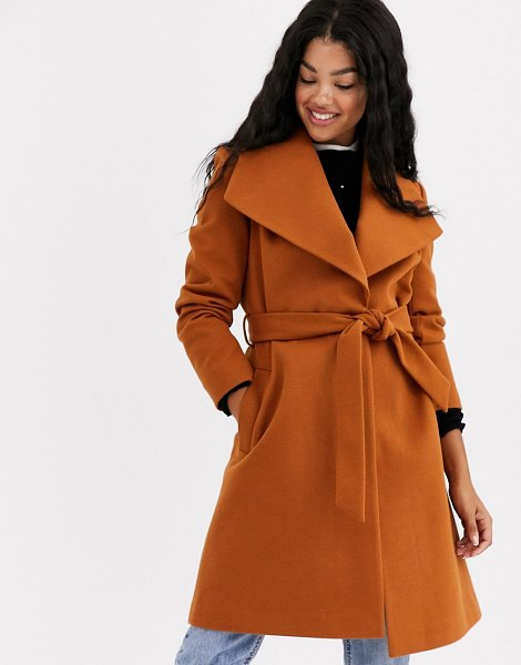 Miss Selfridge funnel neck tailored coat in tan in tan
