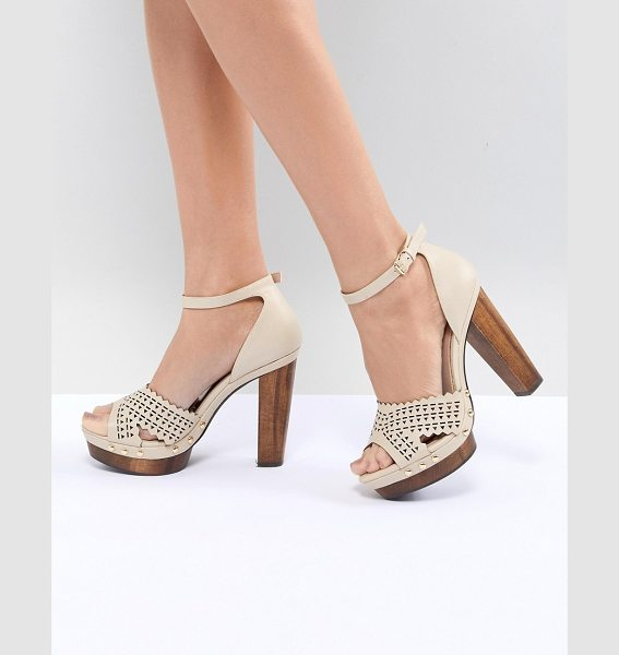 MISS SELFRIDGE Heeled Studded Clog in nude - Heels by Miss Selfridge, Peep toe, Show off your...
