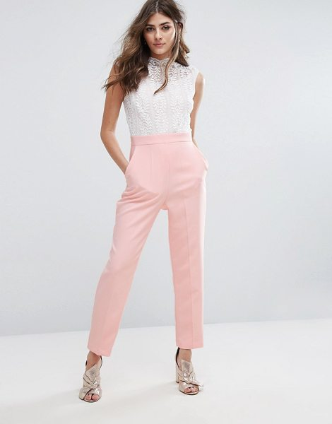 Miss Selfridge High Neck Lace Top Jumpsuit in pink - Jumpsuit by Miss Selfridge, Woven fabric, Lace top, High...