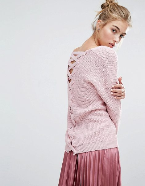 Miss Selfridge Lattice Back Sweater in pink