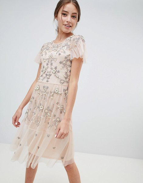 Miss Selfridge midi dress with all over embellishment in nude - Midi dress by Miss Selfridge, For a look as lit as your...