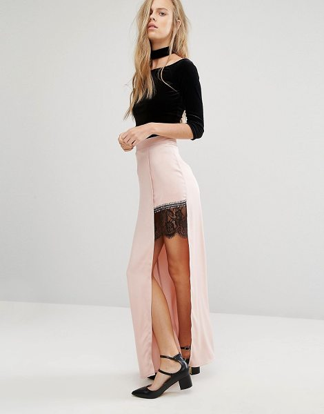 "Miss Selfridge Satin Lace Split Maxi Skirt in pink - """"Maxi skirt by Miss Selfridge, Lightweight unlined..."