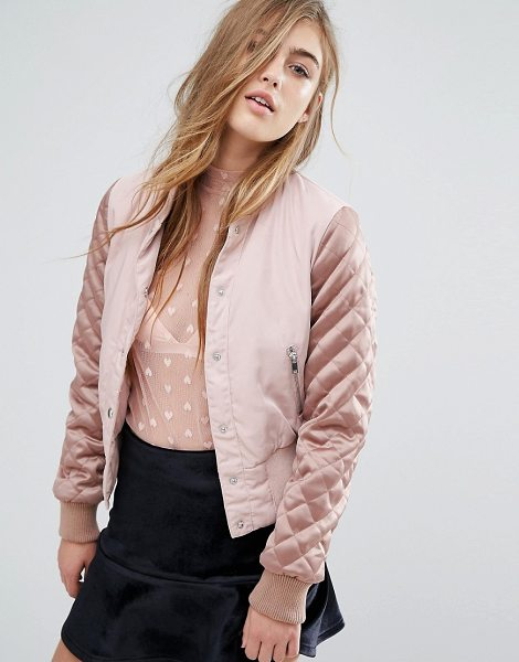 "Miss Selfridge Satin Quilted Sleeve Bomber in pink - """"Bomber jacket by Miss Selfridge, Woven fabric,..."