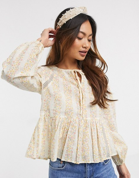 Miss Selfridge smock blouse in ditsy floral-cream in cream
