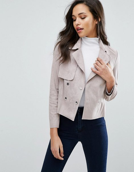 Miss Selfridge Suedette Biker Jacket in pink - Coat by Miss Selfridge, Faux suede, Spread collar,...