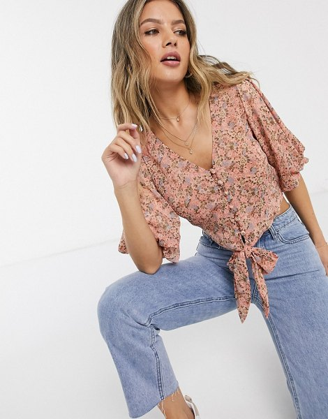 Miss Selfridge tie front puff sleeve blouse in pink floral in pink