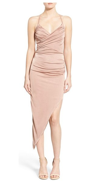 MISSGUIDED asymmetrical midi dress in pink - Gentle side ruching defines the bodice and waist of a...