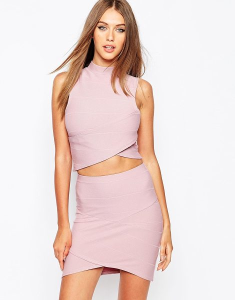 MISSGUIDED Bandage wrap over sleeveless crop top in mauve - Top by Missguided Firm-stretch, bandage fabric Polo neck...