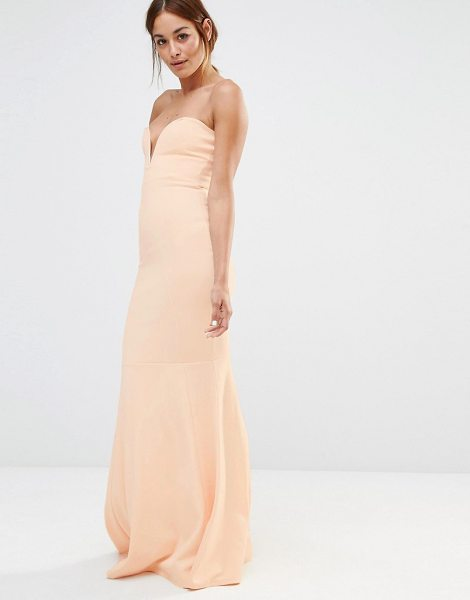 MISSGUIDED Bandeau Fishtail Maxi Dress in beige - Dress by Missguided, Unlined woven fabric, Boned cups,...
