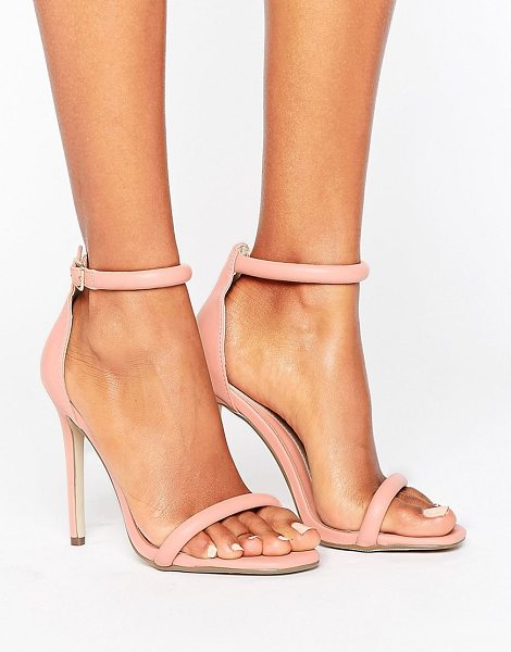 MISSGUIDED Barely There Heeled Sandal in pink - Heels by Missguided, Faux-leather upper, Ankle-strap...