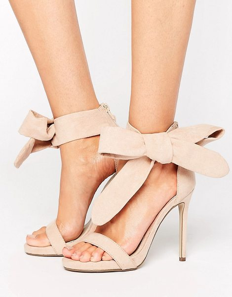 MISSGUIDED Barely There Tie Side Sandals in beige - Sandals by Missguided, Faux-suede upper, Single strap...