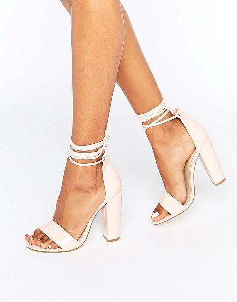 MISSGUIDED Barely There Wrap Around Block Heels in beige - Heels by Missguided, Faux-leather upper, Patent finish,...