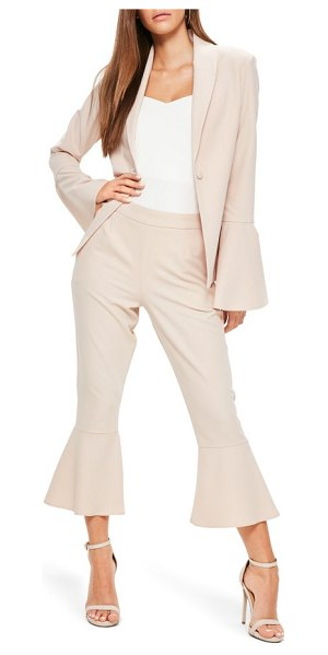 MISSGUIDED bell sleeve blazer in blush - Dramatically flared bell sleeves punch up a...