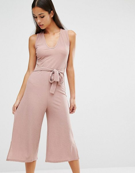 MISSGUIDED Belted Culotte Jumpsuit - Culottes by Missguided, Textured woven fabric,...