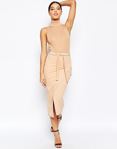 MISSGUIDED Belted wrap skirt in camel - Pencil skirt by Missguided Stretch woven fabric...