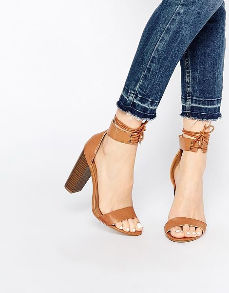 MISSGUIDED Block heel sandal with tie detail in tan - Heels by Missguided, Faux-leather upper, Barely there...