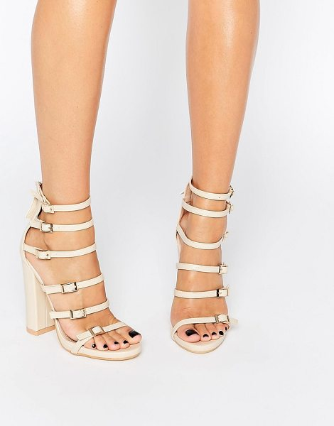 MISSGUIDED Block Heeled Buckle Sandal in beige - Sandals by Missguided, Faux-leather upper, Pin-buckle...