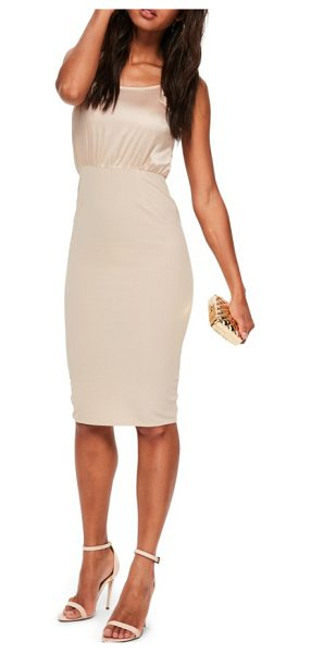 MISSGUIDED body-con dress in nude - Steal the spotlight in a silky slipdress that takes on...