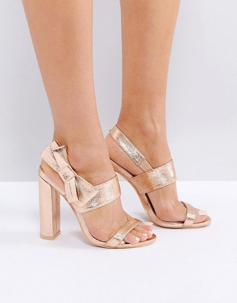 """MISSGUIDED Bow Side Heeled Sandal in pink - """"""""Heels by Missguided, Faux-leather upper, Metallic..."""