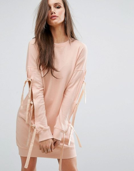 MISSGUIDED Bow Sleeve Sweat Dress in pink - Dress by Missguided, Soft-touch sweat, Crew neck,...