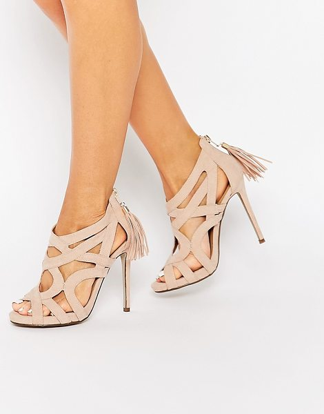 MISSGUIDED Caged Tassel Detail Heeled Sandal in beige - Heels by Missguided, Leather-look upper, Zip heel,...