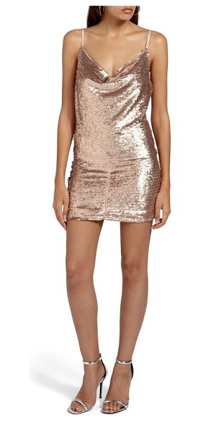 MISSGUIDED cami cowl neck sequin minidress in nude - Steal the spotlight in a slinky sequined minidress that...