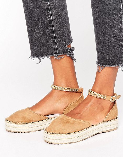 MISSGUIDED Chain Detail Flatform Espadrille Sandal - Espadrilles by Missguided, Canvas upper, Slip-on design,...