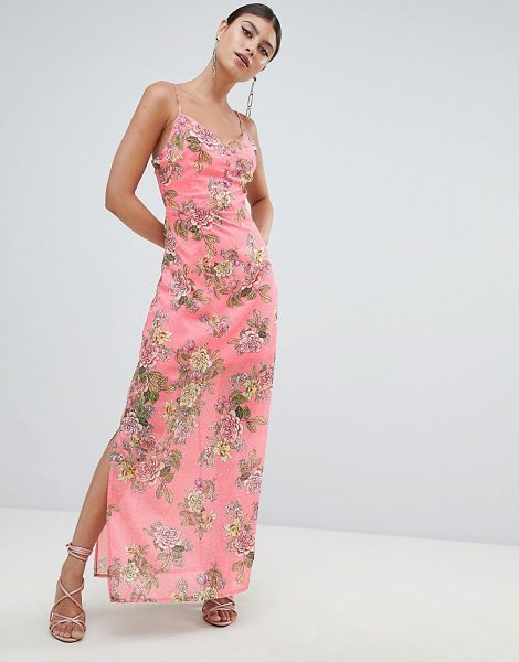 3e949bb782ed MISSGUIDED Chiffon Floral Side Split Maxi Dress | Nudevotion
